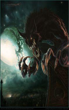 Mythos mad werewolf or Lycanus in his rabid dog aspect.