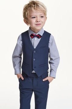 Suit vest in twill with buttons at front, mock front pockets, and a decorative tab at back. Lined.Learn well-known young one guy trousers on your amazing variety of in vogue jeans for toddler kids. Fashion Kids, Toddler Boy Fashion, Fashion Shoes, Wedding Outfit For Boys, Boys Wedding Suits, Toddler Boy Suit, Toddler Boys, Boy Haircuts Long, Boys Formal Wear