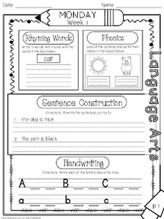 Worksheets Daily Morning Work 1st Grade morning work first grade and mornings on pinterest 1st 9 weeks includes 90 pages 45 language