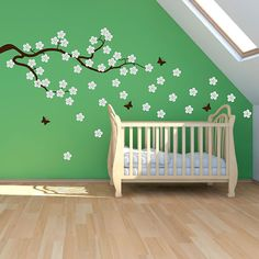CHERRY BRANCH- FALLING BLOSSOM NURSERY WALL ART STICKER DECAL MURAL BABY ROOM