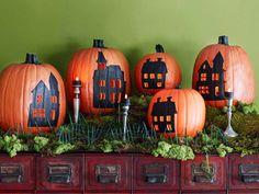 Painted pumpkin city halloween pumpkins halloween pictures happy halloween halloween images pumpkin decorating halloween pumpkin decorations