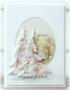 """One more card with the tree die from Penny Black, die cut the tree using the technique """"Die cutting with napkins"""". Placed onto a DP. Penny Black Cards, Penny Black Stamps, Christmas Tree Cards, Holiday Cards, Christmas 2019, April Challenge, Black Tulips, Black Tree, Faux Stained Glass"""