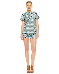 MICHAEL Michael Kors  Printed Structured Twill Top & Printed Twill Shorts.