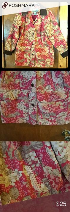 Floral L.L. Bean Barn Coat Beautiful berry and creme floral pattern, solid mulberry lining, trimmed with brown corduroy. Excellent condition. L.L. Bean Jackets & Coats