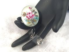 Retractable Badge Reel With Vintage Jewely by WhimsicalAddictions