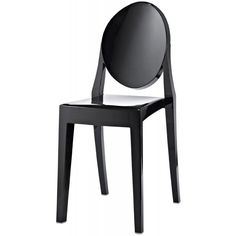 Fusion Living Black Ghost Style Plastic Victoria Side Chair