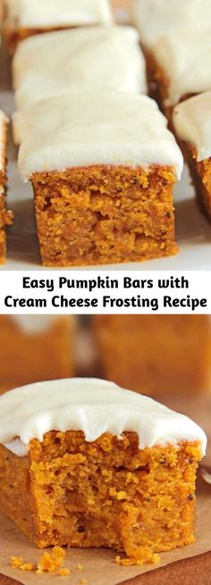 Thanksgiving Recipes, Fall Recipes, Easy Pumpkin Bars, Easy Delicious Recipes, Vegan Sweets, Healthy Breakfast Recipes, Desert Recipes, Pumpkin Recipes, No Bake Cake