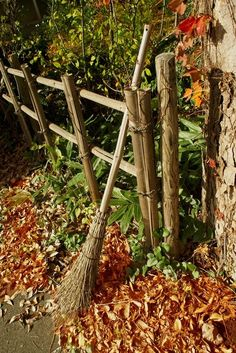 A vintage broom sitting along the fence with beautiful fall colors. Autumn Day, Autumn Leaves, Witch Cottage, Free Park, Photos Voyages, Seasons Of The Year, Fall Pictures, Autumn Garden, Spring Garden