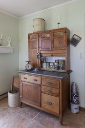"Desperately want one with the flour sifter, tambour door, and original porceline countertop. It breaks my heart to see people ""upcycle"" these to potting benches, etc. Primitive Furniture, Country Furniture, Country Decor, Antique Furniture, Home Furniture, Old Cabinets, Wooden Cabinets, Kitchen Cupboards, Primitive Kitchen"