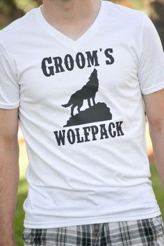Groom's Wolfpack Bachelor Party VNeck T by AnchorAvenueDesigns, $14.00 #groomswolfpack #groom #bachelorparty