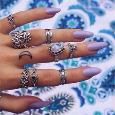 Nails Oval Purple