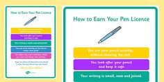 How To Earn Your Pen Licence Display Poster - A poster for your wall, to display expectations in order to earn your 'pen licence'. Classroom Organisation, Classroom Displays, Classroom Management, Classroom Behavior, School Classroom, Pencil Grip, Writing Assignments, Letter Formation, Handwriting Practice