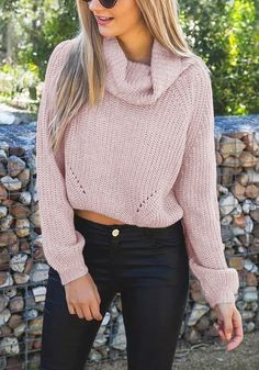 This fall, give yourself a boost of warmth and style by donning this pink cropped cowl neck sweater with your favorite pair of jeans or pencil skirts. #lookbookstore #FashionClothing
