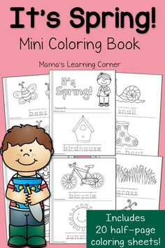Spring Coloring Pages!  Make a 20 half-page mini book!  Perfect for Preschool, Kindergarten, and First Grades.
