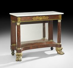 American Classical Stenciled and Parcel-Gilt Mahogany Pier Table, ca. 1825.