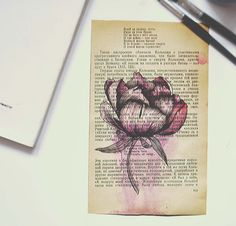 Peony. Made on old book paper with watercolor and ink .by olenka. #art #flower #book #creative #inspiration #idea #floral #watercolor #paint #drawing #peony