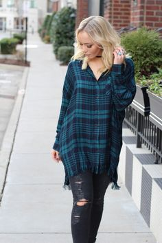 Navy and forest green plaid tunic with fringe detail - Cotton, Polyester - Imported - Runs large Junior Outfits, Outfits For Teens, Fall Outfits, Fashion Outfits, Women's Fashion, Comfy Dresses, Cute Summer Dresses, Cute Cheap Outfits, Stylish Outfits