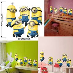 Minions Despicable Me 2 Removable Wall Stickers Decal Kids Bedroom Decor Mural