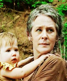"Carol and Judith. I wonder how Carol will take being an ""adoptive mother"" to Judith, Lizzie, and Mika. Maybe she'll find some redemption for what happened to Sophia. The Walking Dead"