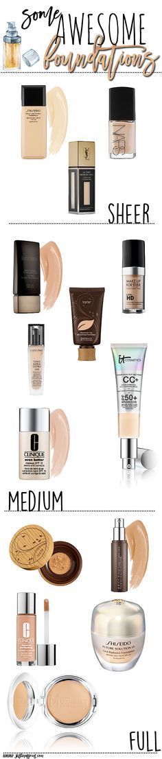 Some of my favorite foundations from top brands are sheer, medium, and full coverage. These are my picks for fair, dry skin.
