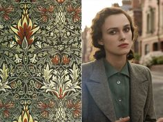 The colors of Atonement in William Morris textiles and wallpapers - Atonement Romola Garai, Juno Temple, Ian Mcewan, Vanessa Redgrave, Miss Moss, Atonement, James Mcavoy, Movie Costumes, Keira Knightley