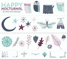 Nocturnal Baby Clip Art Set    A sweet set of owls, flowers, stars and borders that could make a cute baby shower invitation or announcement.