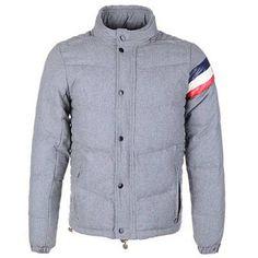 Moncler Chamonix Men Buttons Grey Short Down Coat 8888