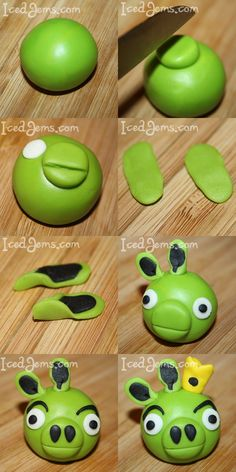 Step by step tutorials on how to model all of the Angry Birds Figures for your homemade Angry Birds Cake. You can also buy the Angry Birds Cookie Cutters from the store. Torta Angry Birds, Cumpleaños Angry Birds, Angry Birds Cupcakes, Bird Crafts, Clay Crafts, Fondant Toppers, Cupcake Toppers, Bird Cookies, Kids Clay
