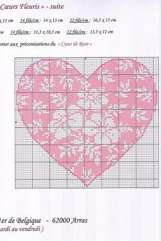 Cross-stitch Floral Heart... no color chart available, just use pattern chart as your color guide.. or choose your own colors...    Hjarta (munstur)