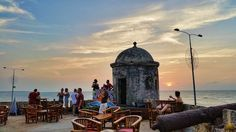 Things to do in Cartagena Colombia - Sunset looking over the old city wall in is something not to be missed.