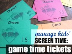 managing kids' screen time with 'game time' cards