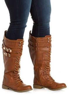 Charlotte Russe WIDE FIT Belted Knee-High Combat Boots