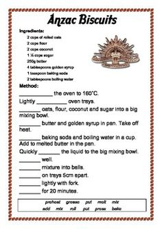 Anzac Biscuits Recipe English Activities by The Learning Curve Australia Fun Facts, Australia Day, English Activities, Activities For Kids, Easy Anzac Biscuits, Jam Drops Recipe, Procedure Writing, Recount Writing, Procedural Text