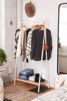 Shop Jones Clothing Rack at Urban Outfitters today. Discover more selections just like this online or in-store. Shop your favorite brands and sign up for UO Rewards to receive 10% off your next purchase! Room Ideas Bedroom, Bedroom Decor, Diy Clothes Rack, Clothes Rack Bedroom, Clothing Racks, Metal Clothes Rack, Clothing Boxes, Rolling Clothes Rack, Clothing Accessories