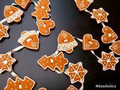 Mézeskalács konyha: Mézeskalács füzér Holiday Crafts, Christmas Diy, Iced Cookies, Sugar, Food, Decor, Decoration, Decorating, Christmas Makes