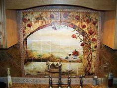 DIY Tile Backsplash! Make your own tile mural!! CHEAP!!!   For the ...