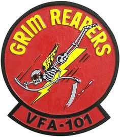 This squadron plaque shows the patch of the Fighter Squadron 101, also known as VF-101 and the Grim Reapers, was a United States Navy F-14 Fleet Replacement Squadron based at Naval Air Station Oceana until disestablishment in 2005.