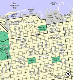 Gorgeous vintage street map of 1950s San Francisco, California. This ...