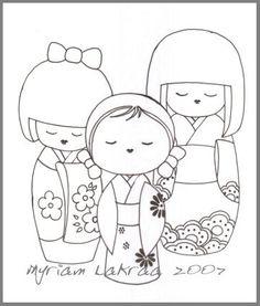 """KOKESHI - Un dessin qui a été piraté de mon blog pour être utilisé sur des sites de coloriage. Ils ont pris grand soin a effacé mon nom. Quand vous le verrez, sachez que c'est mon dessin préparatoire pour la toile """"Les 3 grâces"""" en 2007 (Myriam Lakraa Créations)"""