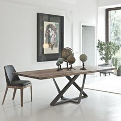 Millennium table by Bontempi - Metal structure, solid wood top