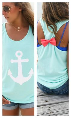 Anchors Away Mint Anchor Hot Pink Bow Back Tank Top