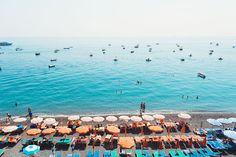 Positano Beach in Summertime  Aqua Blue Green by ItBeganInParis