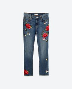 Image 11 of CROPPED EMBROIDERED JEANS from Zara