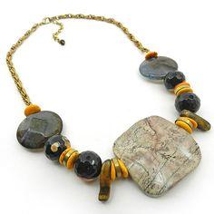 Chunky stone bib necklace  gemstone statement by osofreejewellery, $69.00