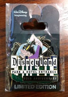 Disney Pin WDI Disneyland 55th Anniversary Entrance Sign Maleficent Dragon LE300