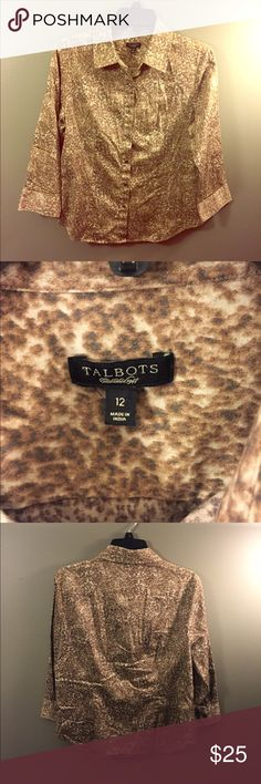 Talbots Animal Print Soft Button Down Shirt Sz 12 Excellent condition! Thank you for looking! Talbots Tops Button Down Shirts