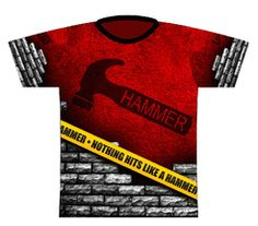 Hammer Caution Tape Dye Sublimated Jersey. A red grunge design featuring brick and caution tape elements.  Hammer logo full front, full back and right sleeve.  Logo Infusion left sleeve.