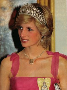 HRH Diana, Princess of Wales, wearing the Lovers Knot Tiara given to her by Queen Elizabeth II upon her marriage to Prince Charles