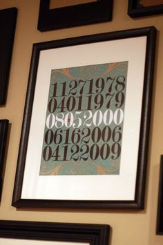 As decor or as a gift, a framed print of meaningful dates is romantic without being sappy. Birthdates, date they first met, date they got engaged, date they got married.