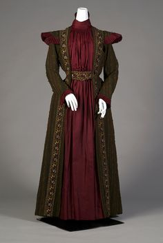 Green wool striped and embroidered tea gown with dark red silk front panel, American, ca. 1882, KSUM 1995.17.17.